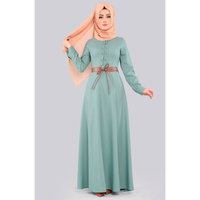 Belted Dress with Cord Detail - Mint Modern Islamic Clothing Made in Turkey