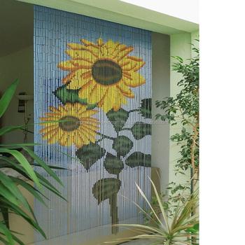 Sunflower Bamboo Beaded Door Curtains/ Hanging Bamboo Door Curtain