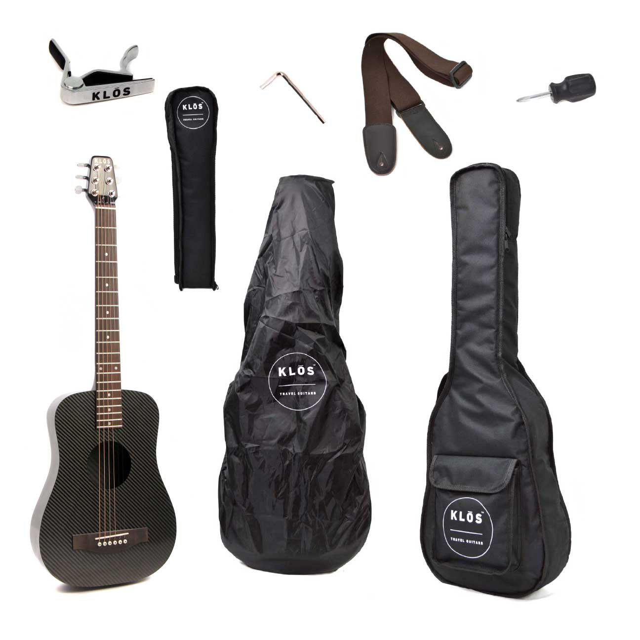 22a86823012 Get Quotations · KLOS Black Carbon Fiber Travel Acoustic Guitar Package ( Guitar, Gig Bag, Strap,