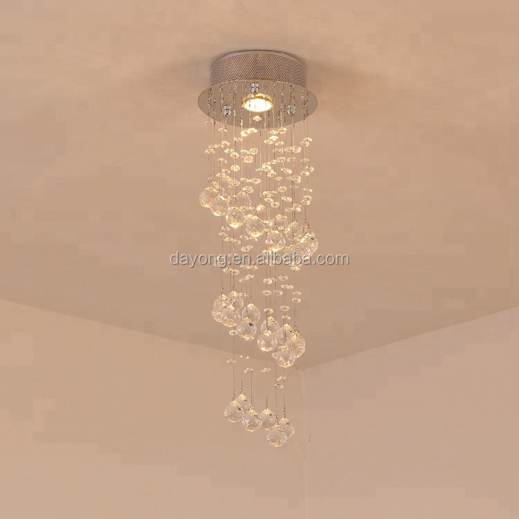 High Ceiling Warm Circle Led ChandelierLight for Bedroom Cafe Hotel Ruby