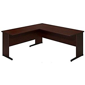 """Bush L-Shaped Desk Shell W/C-Legs 71""""W X 71""""D X 30""""H Features Durable 1"""" Thick Work Surface Grommets For Wire Management - Mocha Cherry"""