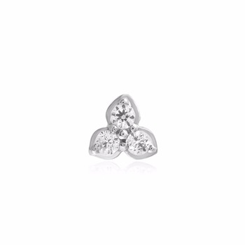 925 Sterling Silver 3 Stone Nose Pin With Certified Natural