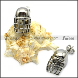 Unique Antique Stainless Steel Warrior Helmet Earrings Silver for Sale