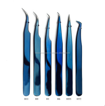 Japanese Steel Hand Tested Eyelash Extension Tweezers and Russian Volume Tweezers In Titanium Blue Finish