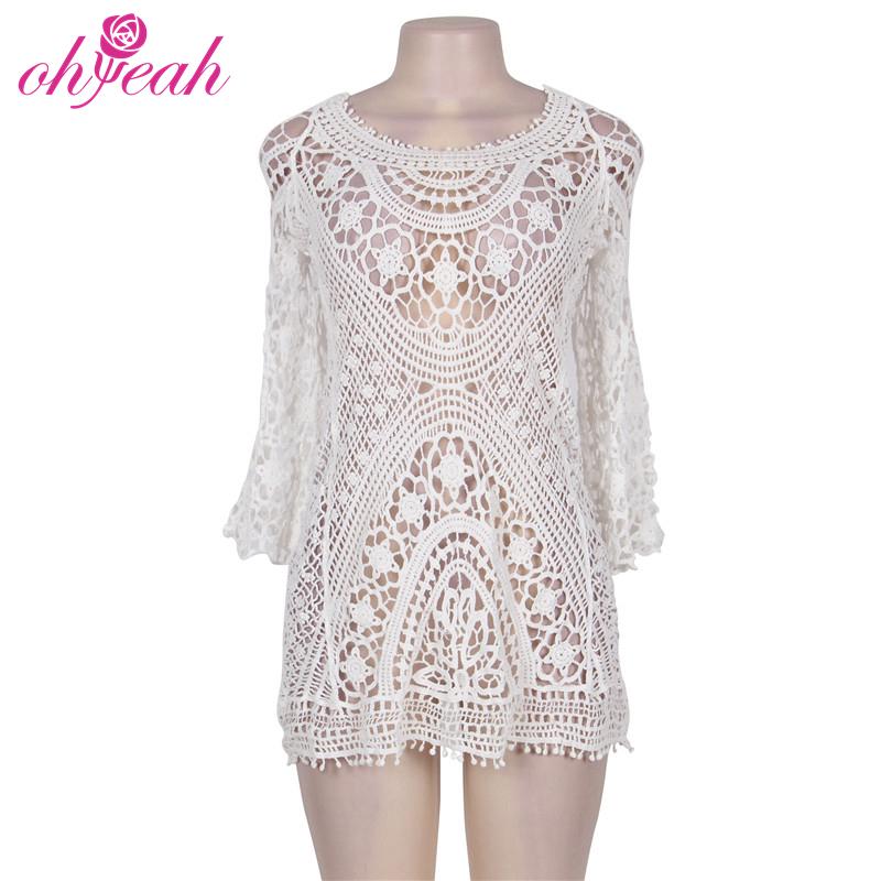 नवीनतम गर्म सेक्सी सफेद Crochet फीता Swimwear के और Beachwear