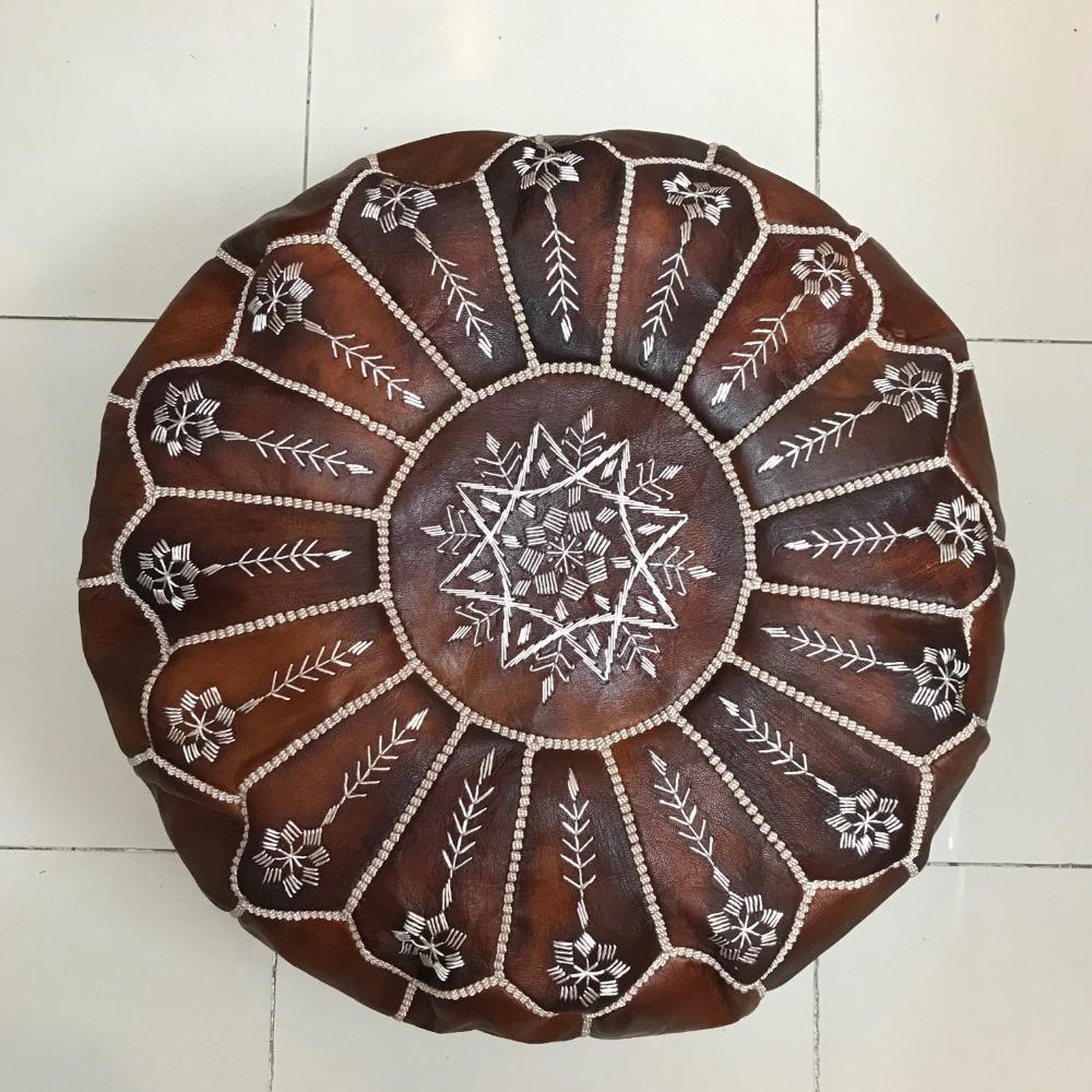 Genuine Moroccan Leather Pouf Brown Ottoman Pouf Beautiful Handmade