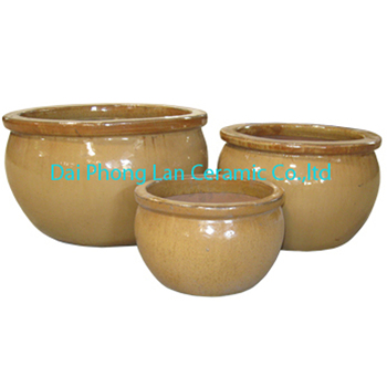 Bavaria Ceramic Glazed Pot Yellow Pottery Planters Planter Plant Pots Large Garden Product On