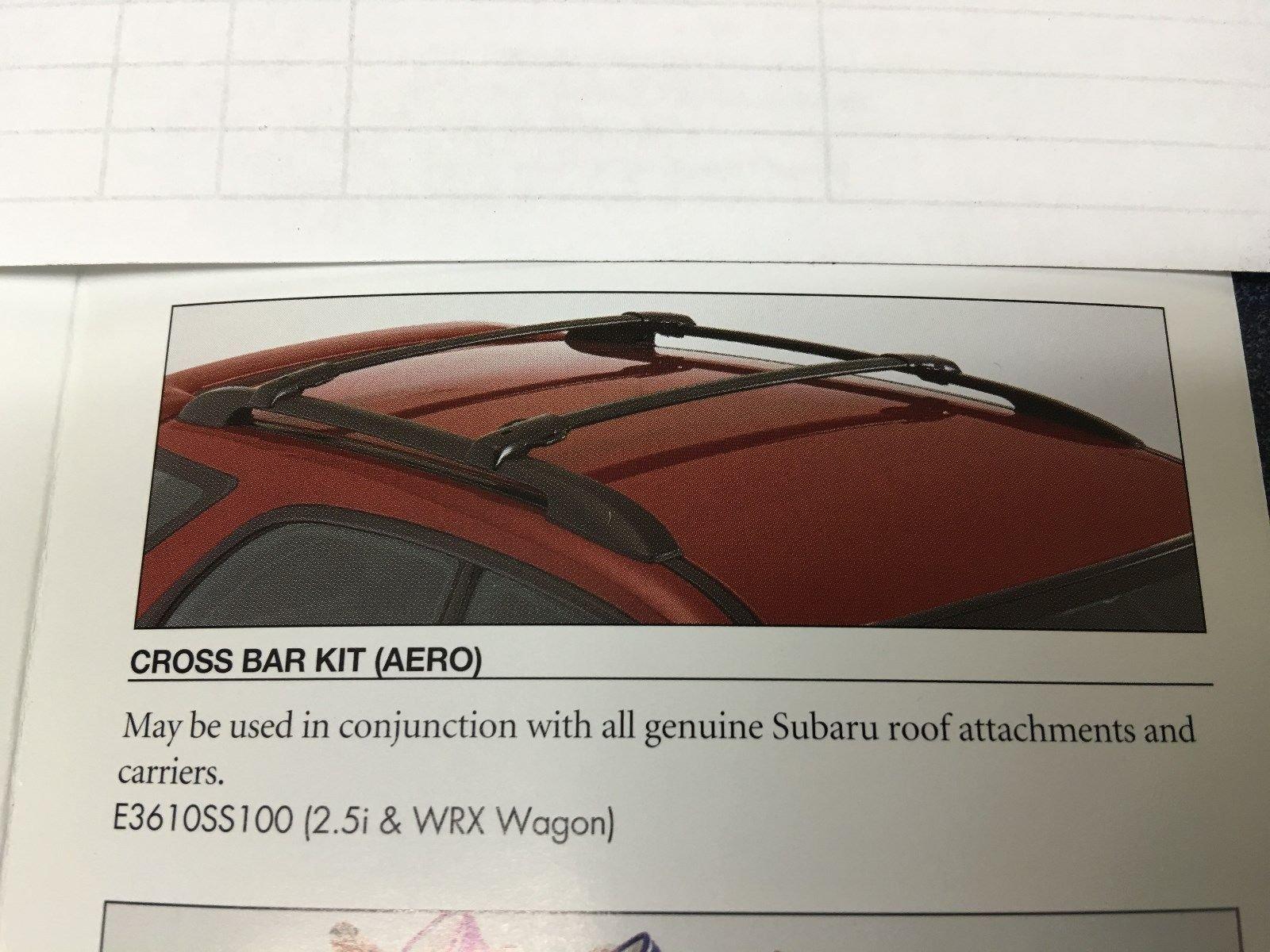 2012-2016 Subaru Impreza 5 Door XV Crosstrek Aero Roof Cross Bar Set OEM NEW