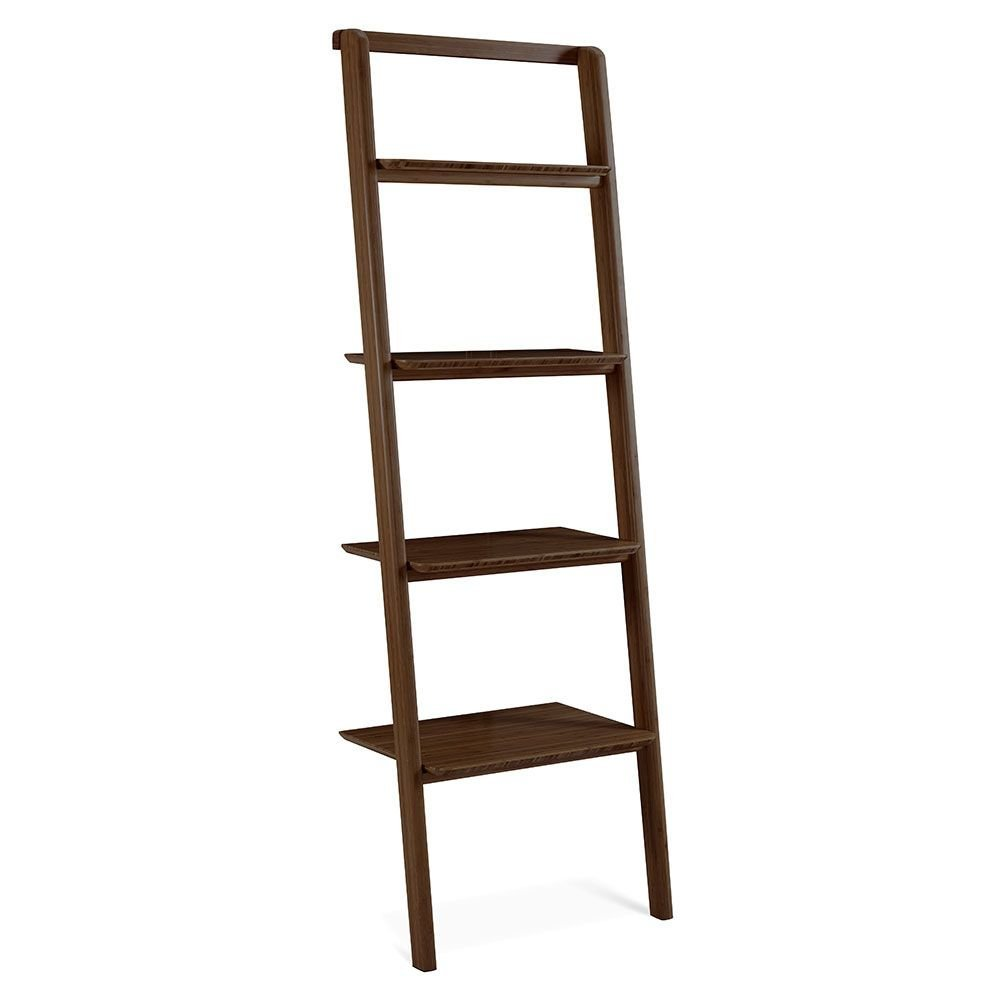"""Currant Four Shelf Solid Bamboo Leaning Bookcase - 70""""H Black Walnut Solid Bamboo Dimensions: 24""""W X 15""""D X 70""""H Weight: 37 Lbs"""