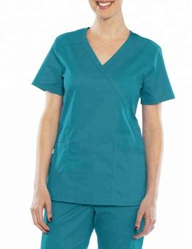 Stylish Polyester Cotton Medical Y Neck Scrubs With Pen Pocket Nursery Shirt