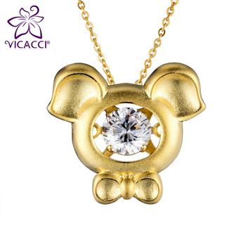7e5380c0f Vicacci Zodiac 18k Gold Plating Pig Necklace With Crystal - Buy 18k ...