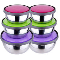 Wholesale Stainless steel punch bowl plastic lid microwave bowl