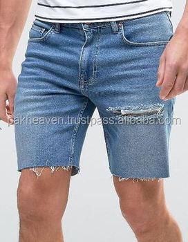 Custom Slim Mid 2598 With Thigh Rip Men Denim Short Denim Shorts