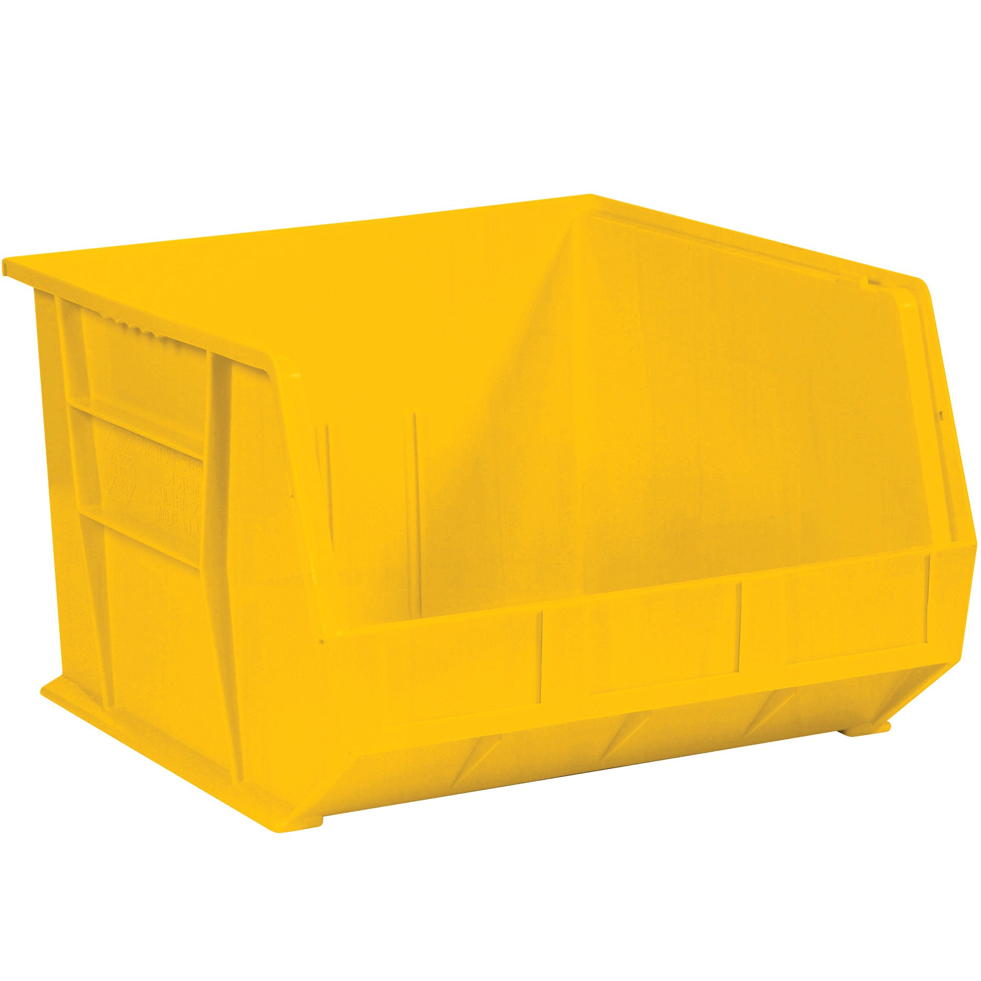 "Aviditi BINP1816Y Plastic Stack and Hang Bin Box, 18"" Length x 16-1/2"" Width x 11"" Height, Yellow (Case of 3)"