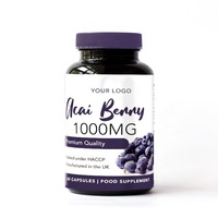 Acai Berry 1000mg Food Supplement Round Premium Bottle - Private Label Nutrition - Wholesale Diet Supplements