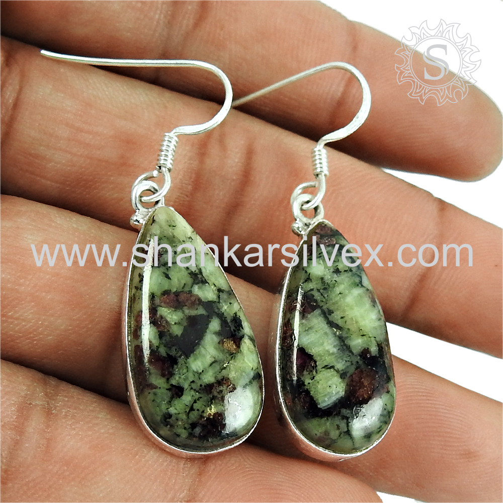 New fashion earring eudialyte gemstone silver jewelry handmade 925 sterling silver earrings jewellery exporter