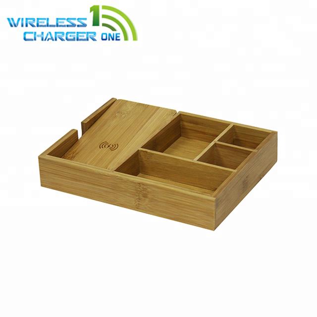 2018 Hot Bamboo Wood Wireless Charging Mens Valet Tray