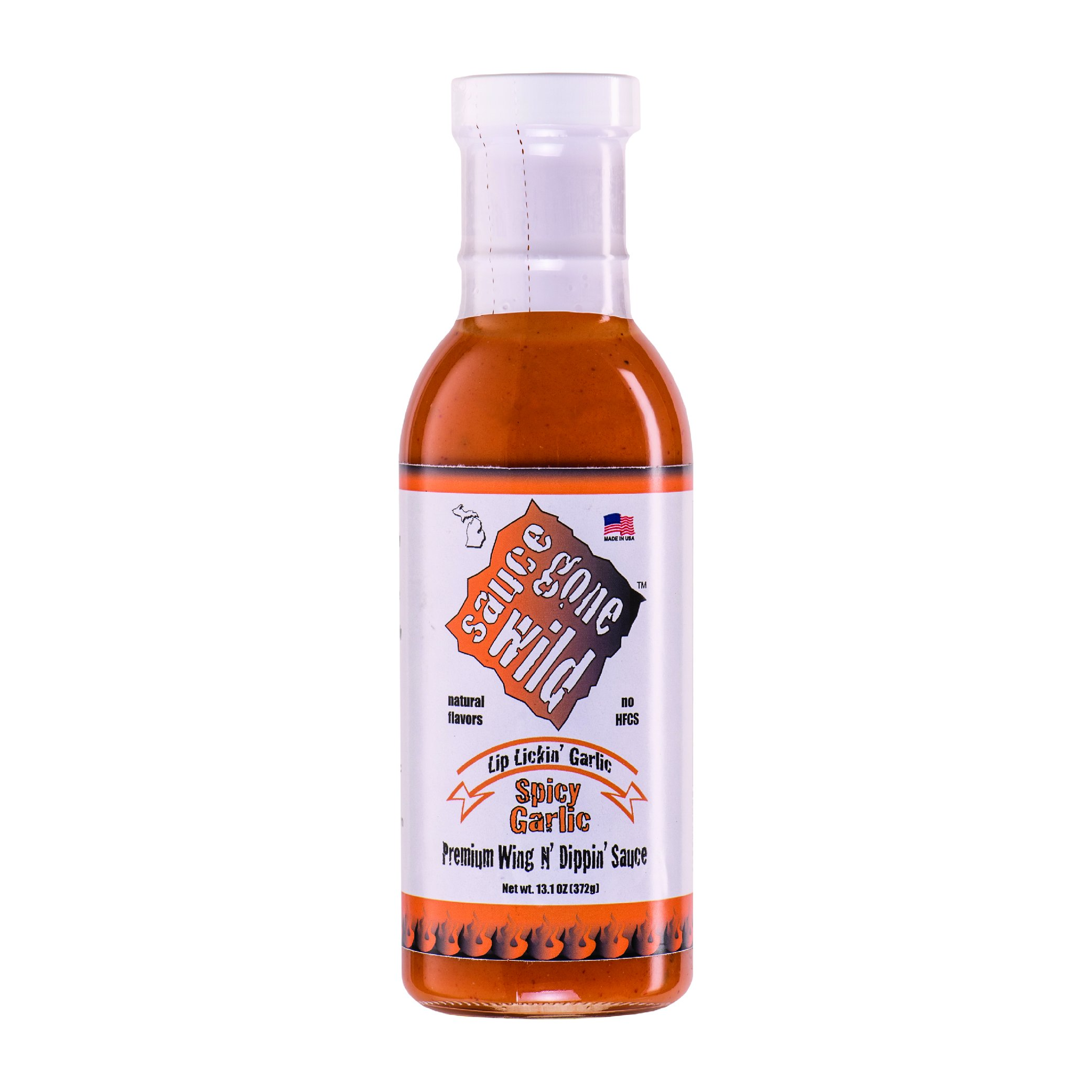 Sauce Gone Wild Wing Sauce - Spicy Garlic Flavor -13.1oz - Hot Marinade for Grilling & Cooking Chicken - Made in USA - Tasty Restaurant Style Wings at Home