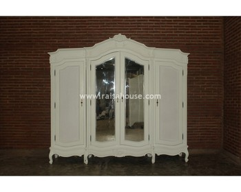 Antique Reproduction Furniture - 4 Door Wardrobe Top Center Carving Indonesia Furniture