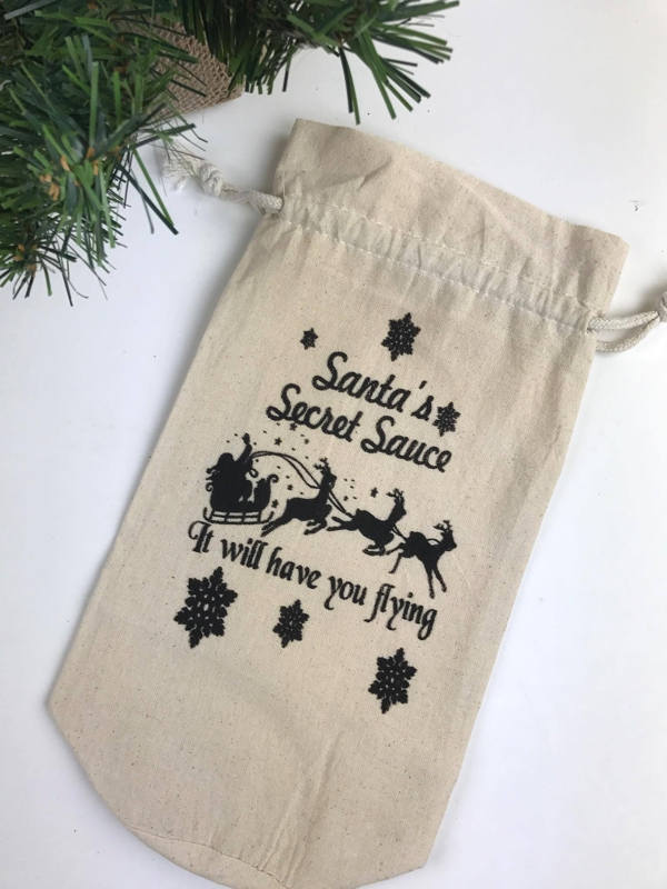 Santa Christmas wine bottle cotton gift drawstring bag