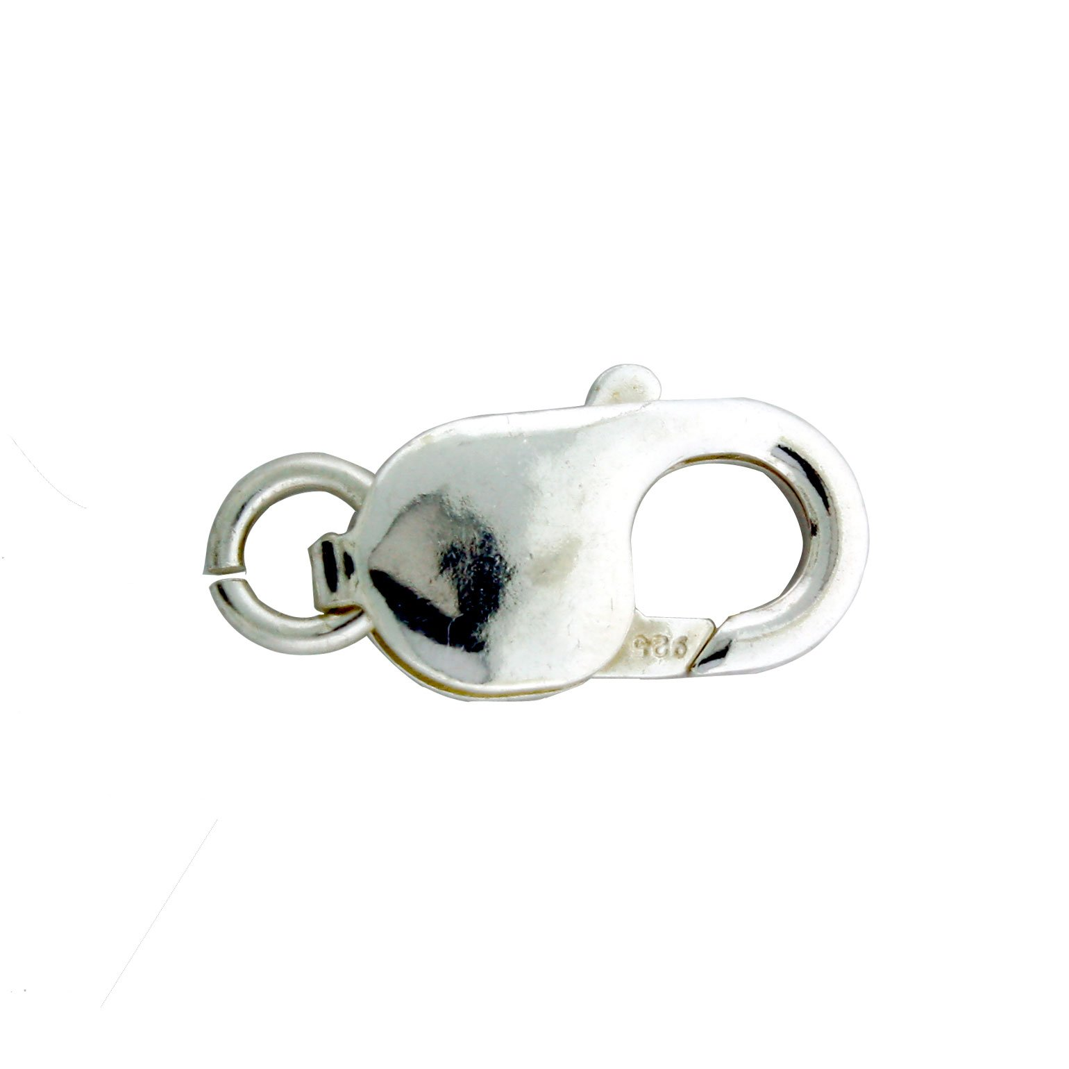 Sterling Silver Large Lobster Claw Clasp With Open Jump Ring, 9 x 18mm