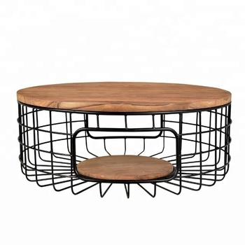 Furniture Storage Black Metal Wire Basket Wooden Top Side Coffee Table