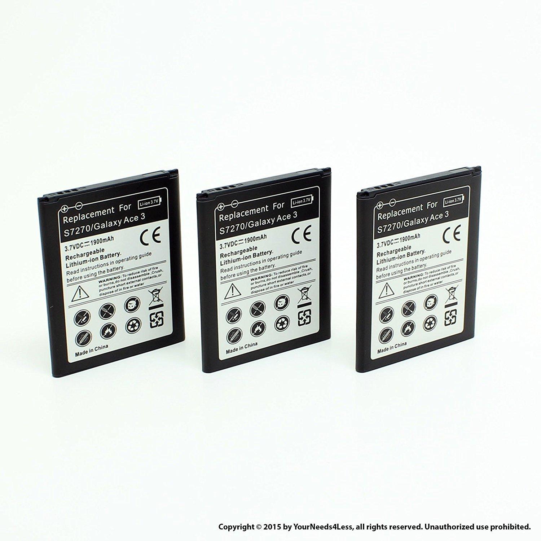 YN4L 3 X 1900mAh Replacement Batteries for Samsung Galaxy Exhibit SGH T599 (T-Mobile) ; SGH T599N (MetroPCS)