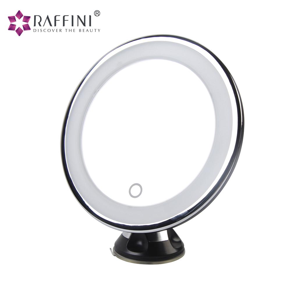 Haut Pflege Werkzeuge Schminkspiegel Make-up Spiegel Tragbare Led Beleuchtete Silber Runde Doppelseitige Spiegel Desktop Falten Lampe Lupe Für Schönheit Kunststoff Glas Rasieren
