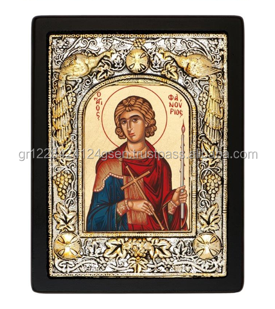 Saint Fanurios Icon 2 - Christian Greek Orthodox Silk Screen Religious Wooden Craft Icon covered with Silver 950