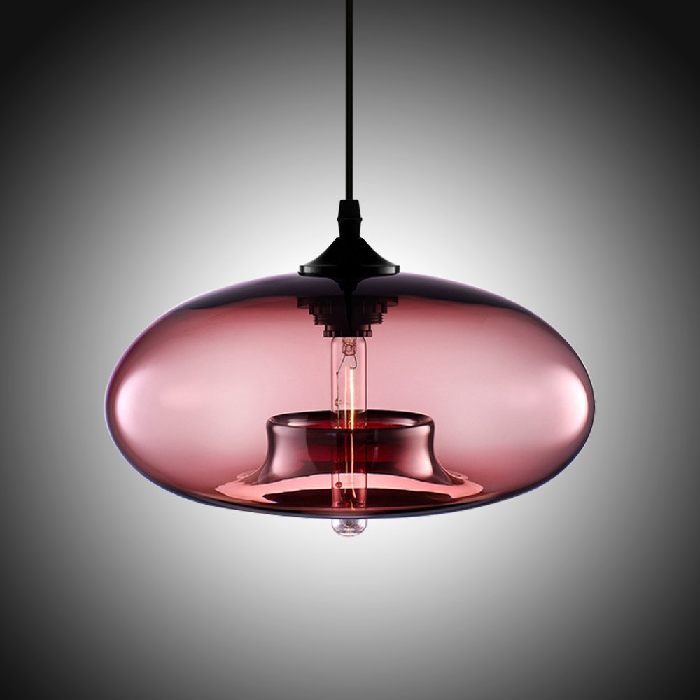 Boshen Hanging Modern Glass Pendant Ceiling Light Lamp Shade Lighting Fixtures Replacement Clear Blue Amber 6 Colors (Red)