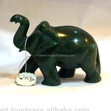 Handcrafted Green Jade Elephant statue made in India