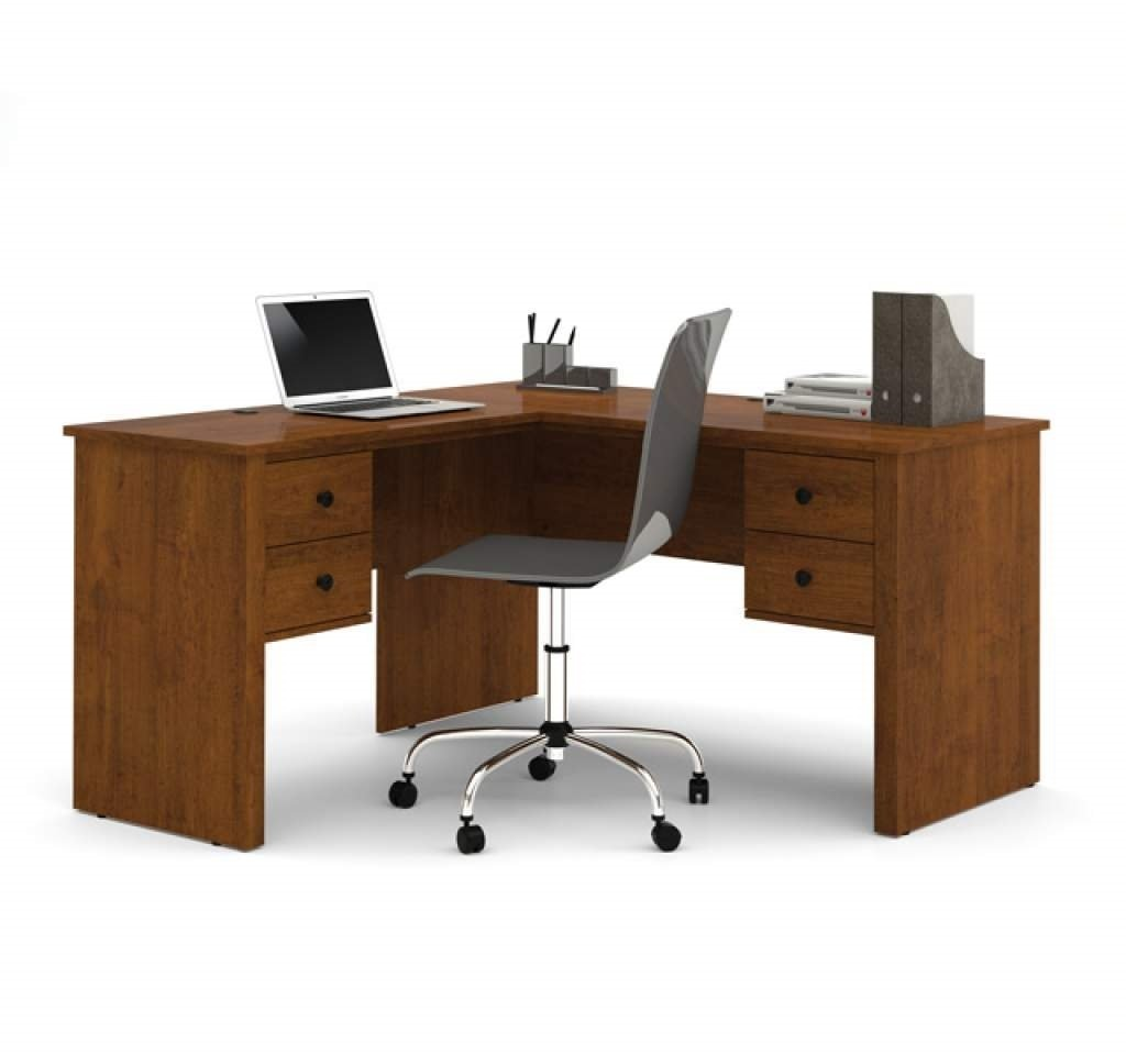 "Bestar L Shaped Desk 53.5""W X 53.5""D X 29.5""H Metal Handles 12 Inch Width Pedestals Durable 3/4 Inch Commercial Grade Work Surfaces W/Melamine Finish - Tuscany Brown"