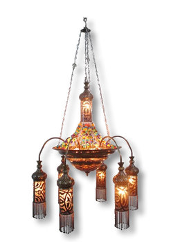 Br259 Antique Style Art Large Beaded Br Led Chandelier Pendant Lighting