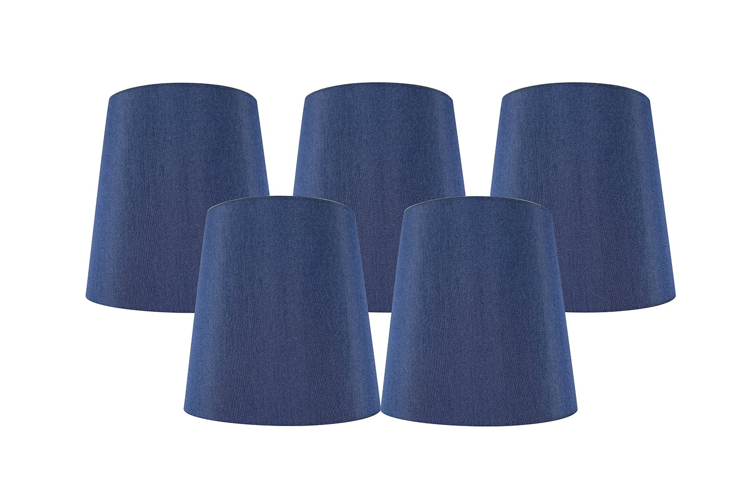 Meriville Set of 5 Blue Faux Silk Clip On Chandelier Lamp Shades, 4-inch by 5-inch by 5-inch