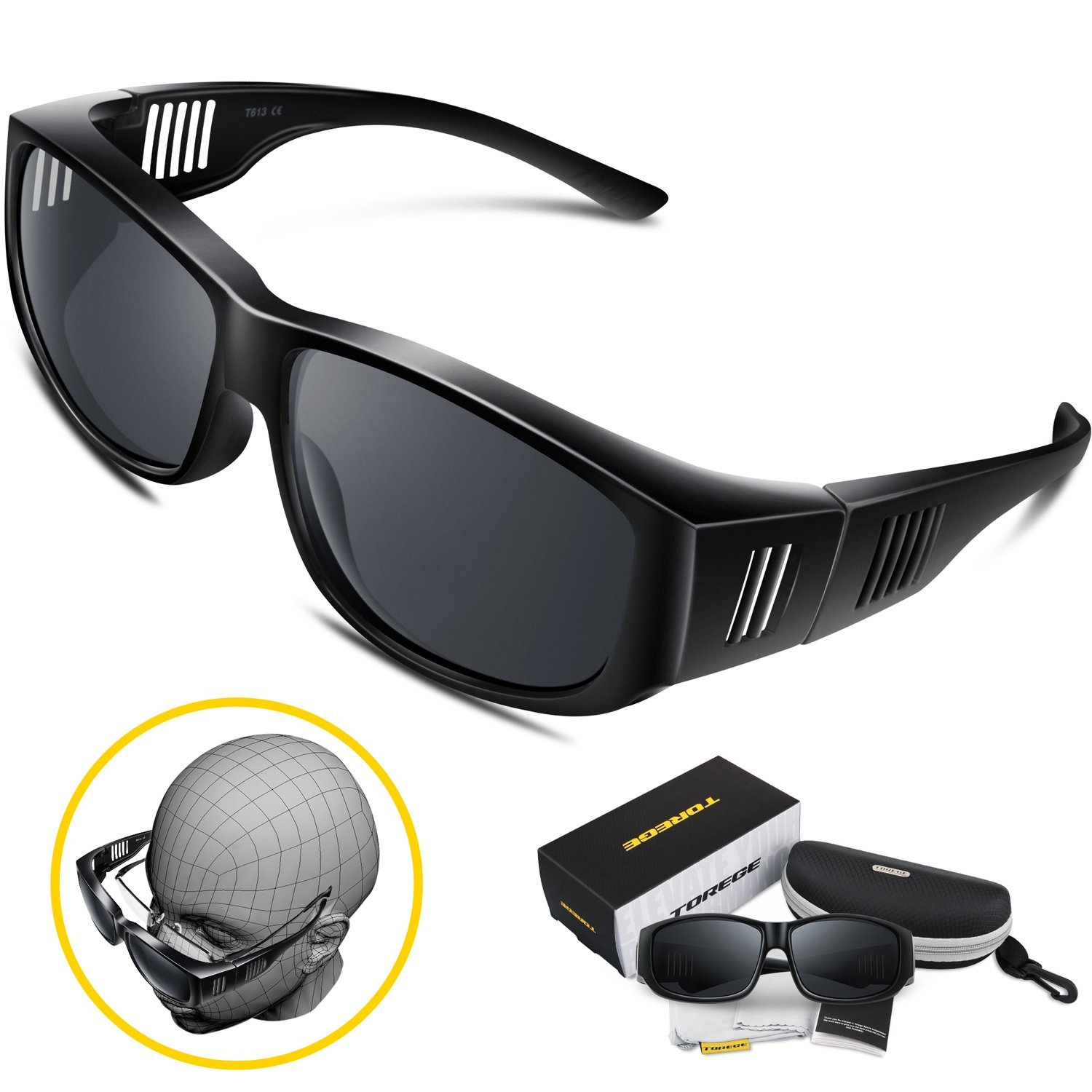 dc34a0f7b45 Get Quotations · Torege Flip Up Fit Over Sunglasses with Side Shields  Polarized Lenses for Driving Fishing Hunting T613