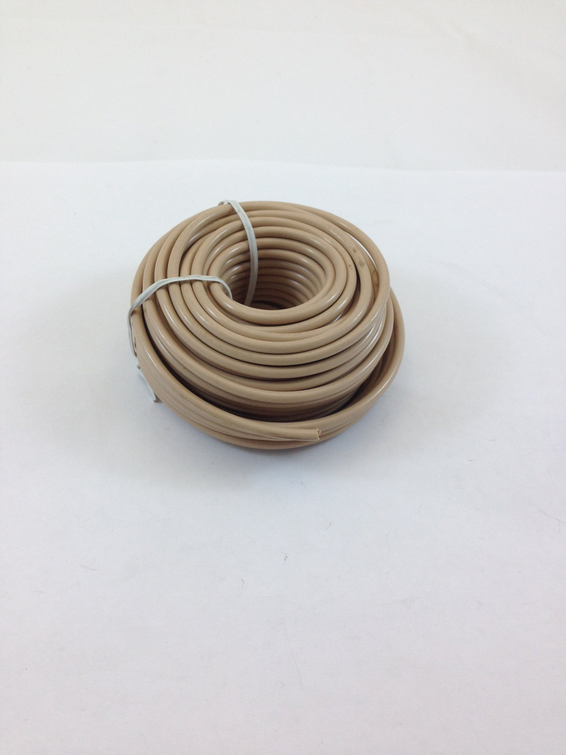 50' TELEPHONE STATION WIRE 24AWG 4 CONDUCTOR STRANDED, TAN PVC JACKET, 100% COOPER WIRE