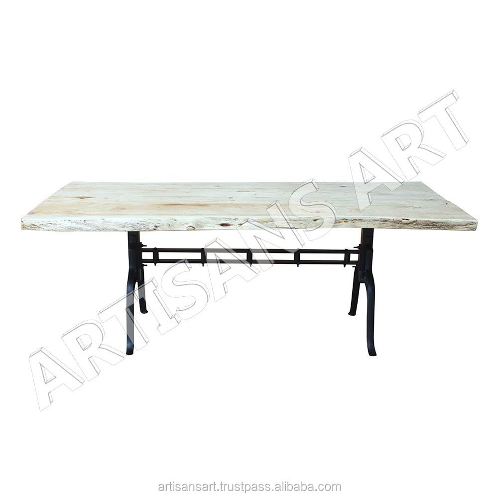 Industrial Custom Made Live Edge White Dining Table Natural Edge, White Finish Acacia slab furniture Manufacturer and Exporter
