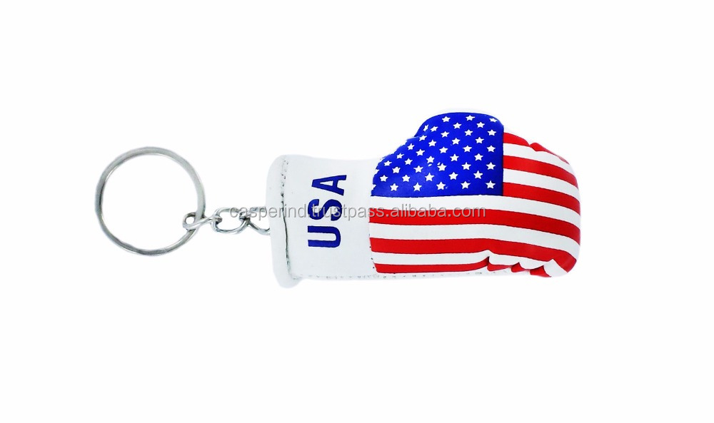 High Quality mini boxing gloves keychain keyring key chain ring NEW leather Flag USA