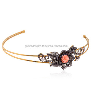 18kt Gold Diamond Carving Coral Women Party Wear Head Band Head Jewelry