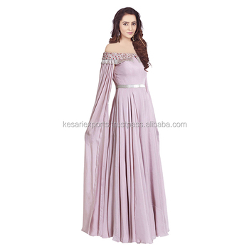 Pure Georgette Lavender Color Hand Embroidery Gown With Zardosi And Pipe Work
