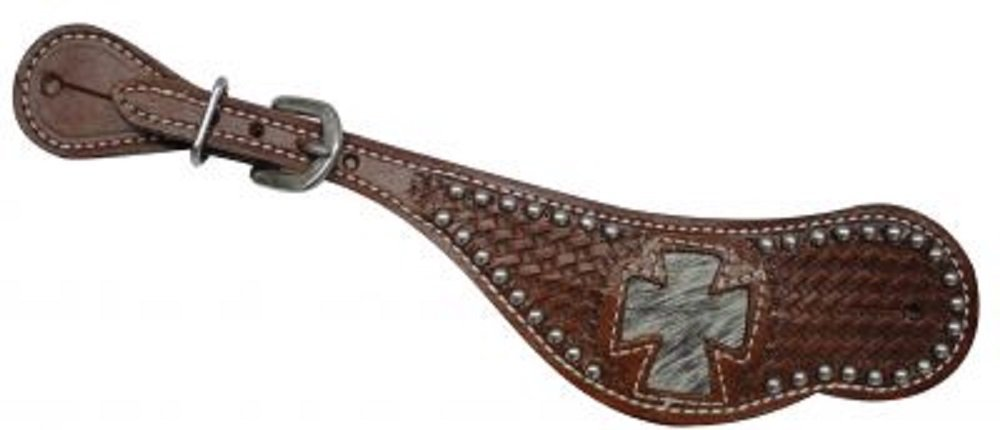 Showman Ladies Spur Strap With Hair on Cowhide Inlay Cross Design Basket Stamping And Silver Beads
