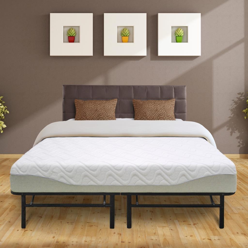 "Best Price Mattress 9"" Gel-infused Memory Foam Mattress & 14"" Premium Metal Bed Frame Set, Queen"