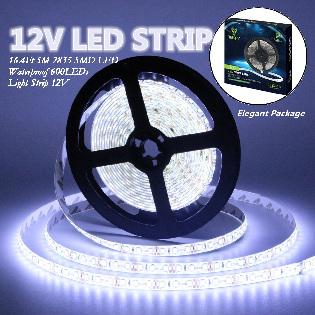 Led Strip Lights, IEKOV™ 2835 SMD 600LEDs Waterproof Flexible Xmas Decorative Lighting Strips, LED Tape, 5M 16.4Ft DC12V, 3 times brightness than SMD 3528 LED Light Strip (Cool White)