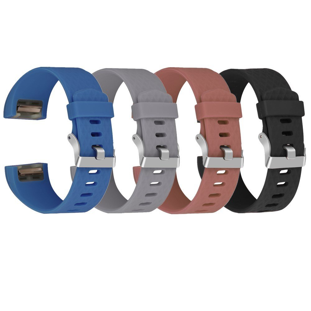 "Charge 2 Band for Fitbit, Greatgo Adjustable Soft Silicone Replacement Bracelet Strap Band Wristband for Fitbit Charge 2 Smart Watch - 3D Rhombic Style, Length 6""-8.5"", Black+Coffee+Grey+Blue"
