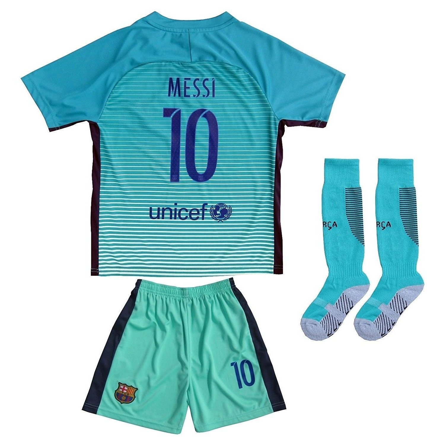 584383ca1 2016 2017 BARCELONA  10 LIONEL MESSI THIRD GREEN SOCCER JERSEY   SHORTS  YOUTH SIZES