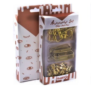 Stationery Set Gold Color Clear Box and Storage Tray Vintage Nostalgia Series