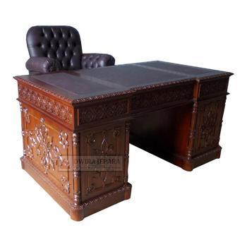 Mahogany Furniture Desk   Carved Office Desk Furniture Indonesia