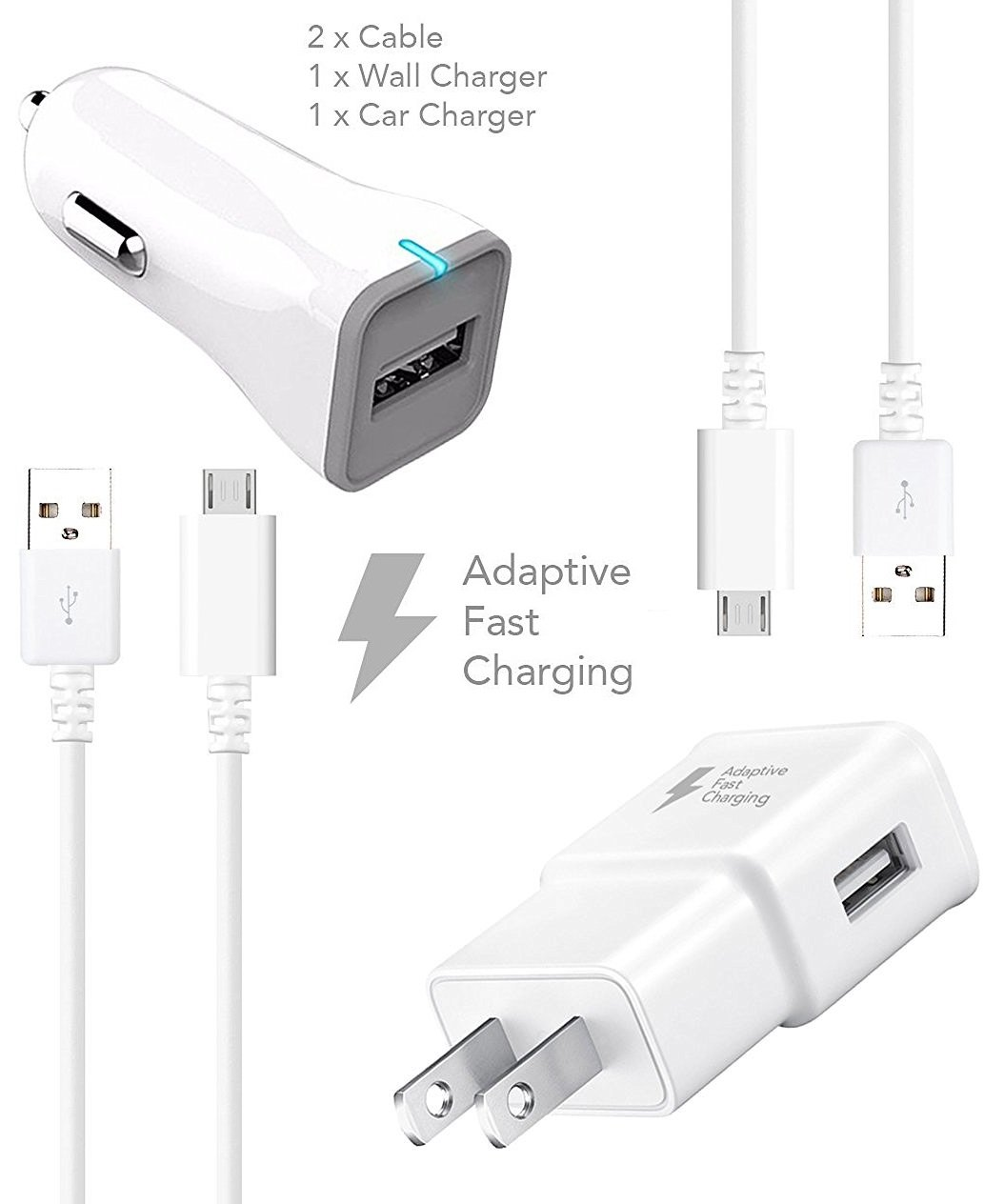 Samsung Galaxy S7 S7 Edge Adaptive Fast Charger Micro USB 2.0 Cable Kit by Ixir - {Wall Charger + Car Charger + 2 Cable} True Digital Adaptive Fast Charging