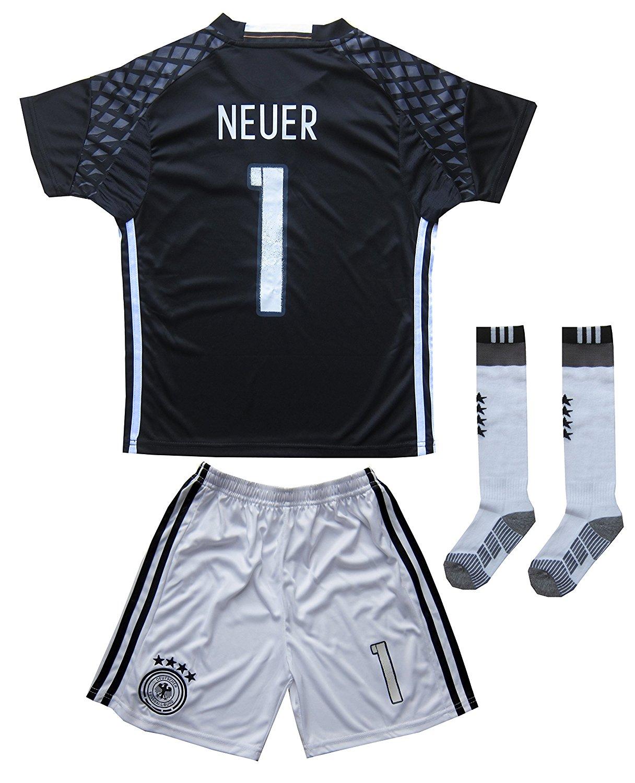 bfb20a48d Get Quotations · GERMANY NEUER  1 Goalie Football Soccer Kids Goalkeeper  Jersey Short Socks Set Youth Sizes