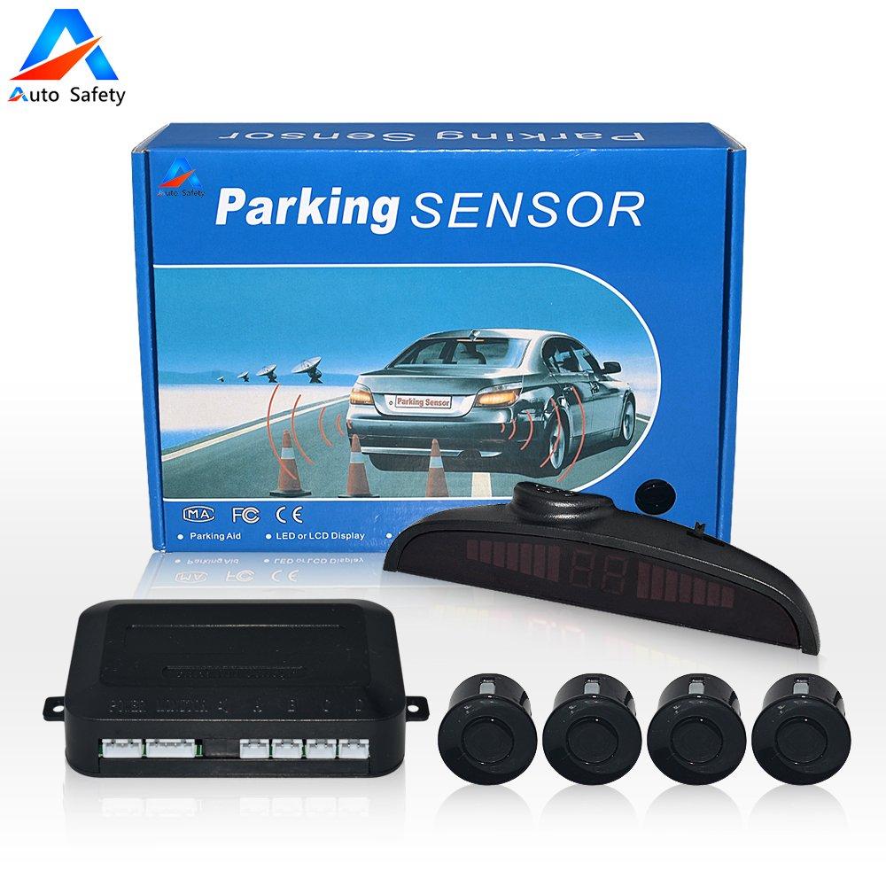 Auto safety Car Reverse Backup Radar System parking sensor kit ,LED Dispaly + Human Voice Alert +4 sensors+4 colors for Universal Auto Vehicle (Black)